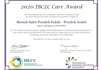 RS Pondok Indah - Pondok Indah Meraih Penghargaan IBCLC Care Award 2020
